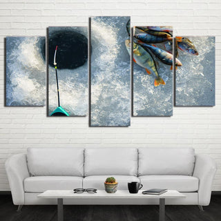 5 Piece Fish in the Ice Canvas Wall Art Sets - It Make Your Day