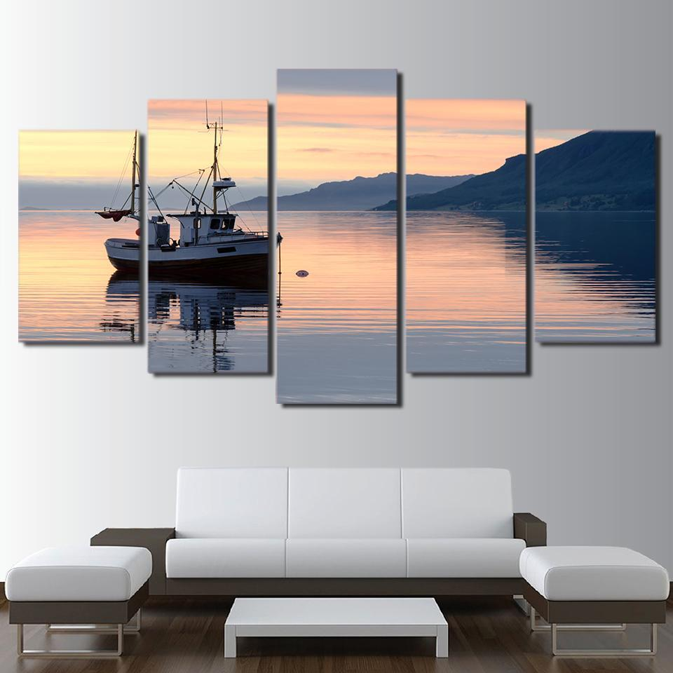 5 Piece Fishing Boat In The Ocean Canvas Paintings - It Make Your Day