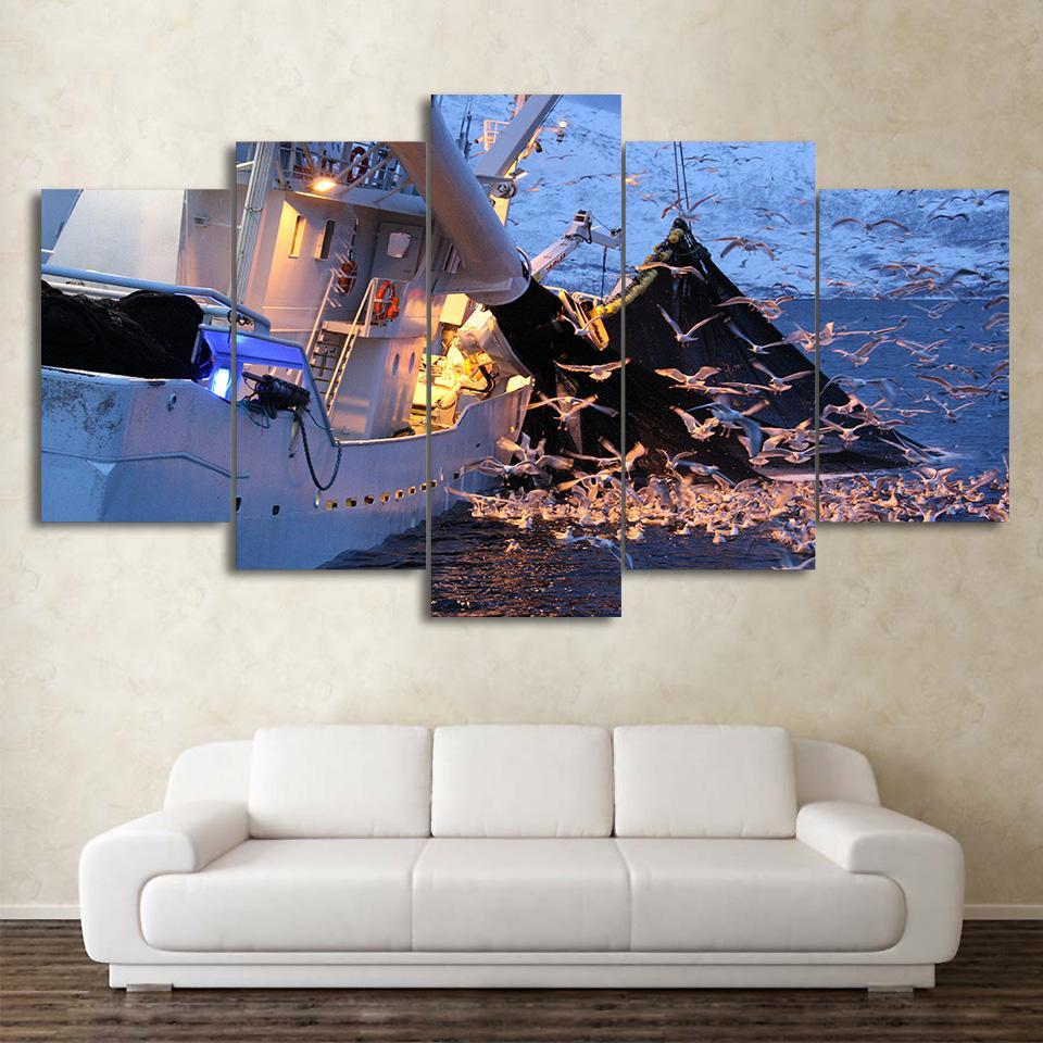 5 Piece Fishing Boat With Birds Canvas Wall Art Paintings - It Make Your Day