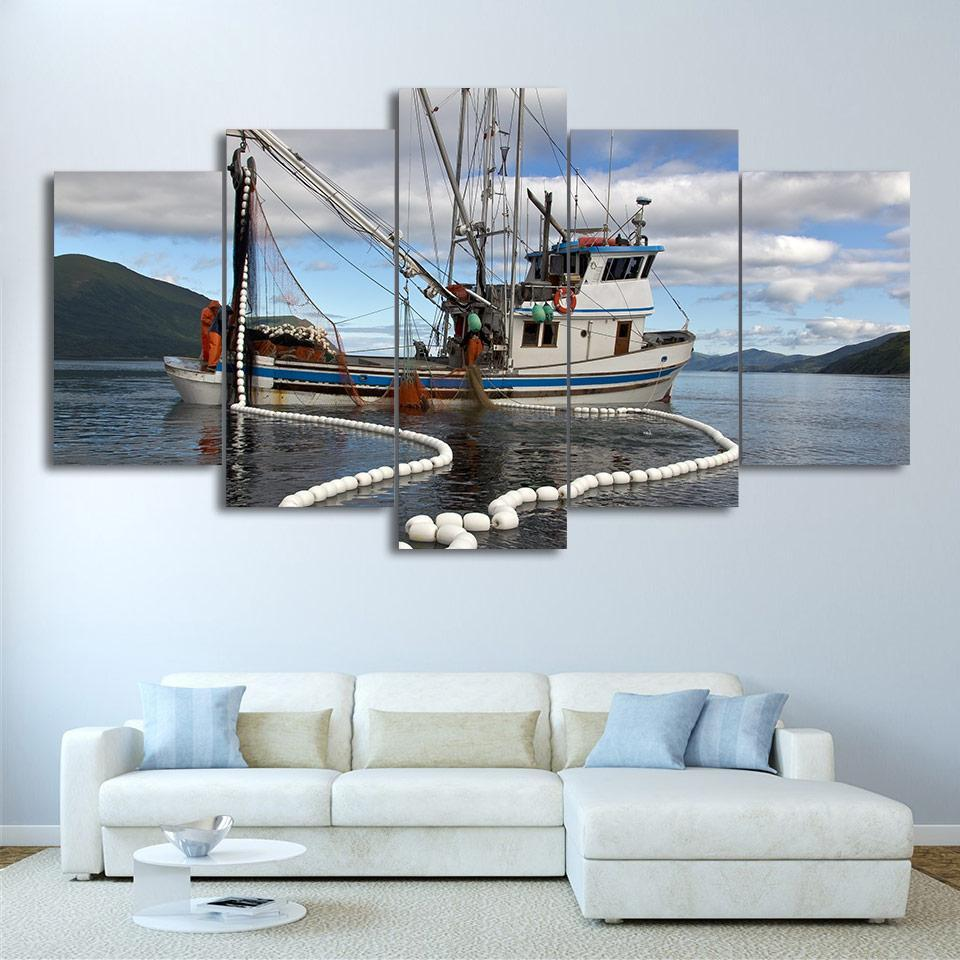 5 Piece Fishing Boats Modern Canvas Wall Art Sets - It Make Your Day