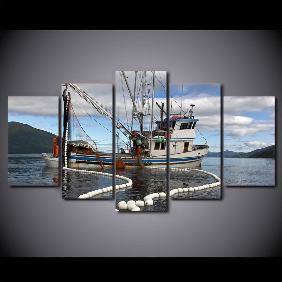 5 Piece Fishing Boat With Net Underwater Canvas Wall Art Paintings - It Make Your Day
