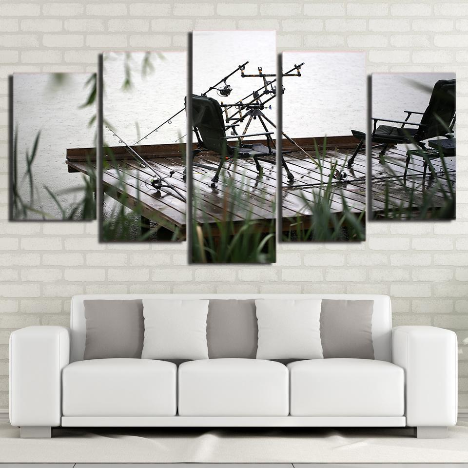 5 Piece Fishing Chairs Modern Canvas Wall Art Sets - It Make Your Day