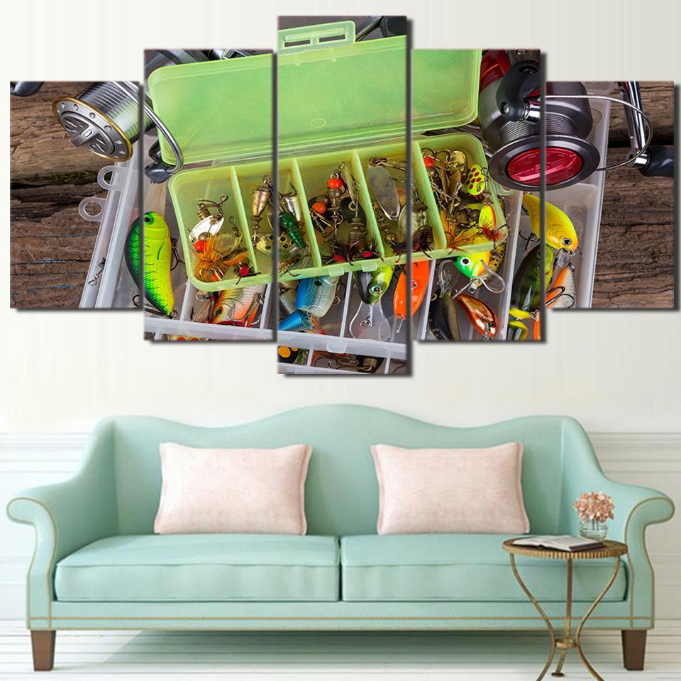 5 Piece Fishing Hook Designs Modern Canvas Wall Art Sets - It Make Your Day