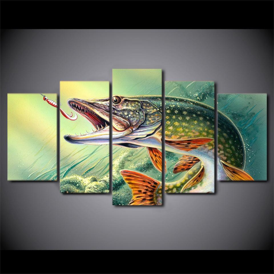 5 Piece Fishing Hooked Modern Canvas Wall Art Sets - It Make Your Day