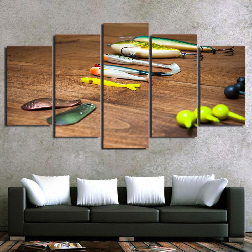 5 Piece Fishing Hooks Modern Canvas Wall Art Sets - It Make Your Day