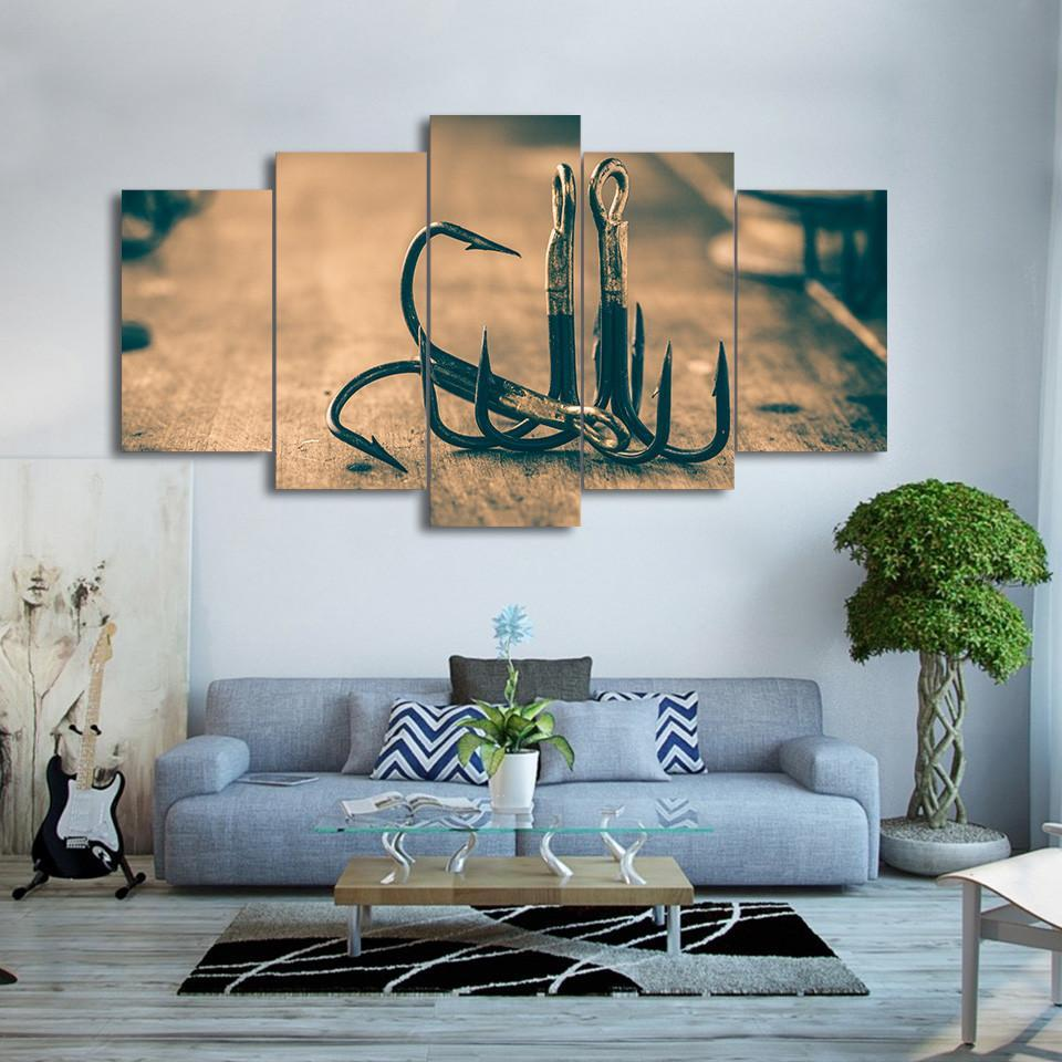 5 Piece Fishing Hooks Modern Canvas Wall Art Sets Prints - It Make Your Day