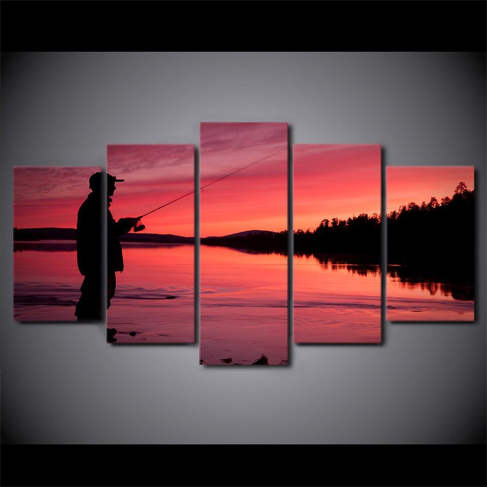 5 Piece Fishing In Red Sunset Modern Canvas Wall Art Sets - It Make Your Day