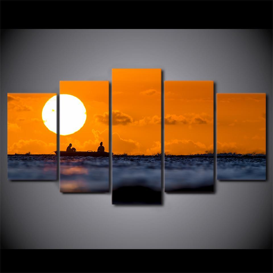 5 Piece Fishing In Sunset Modern Canvas Wall Art Sets - It Make Your Day