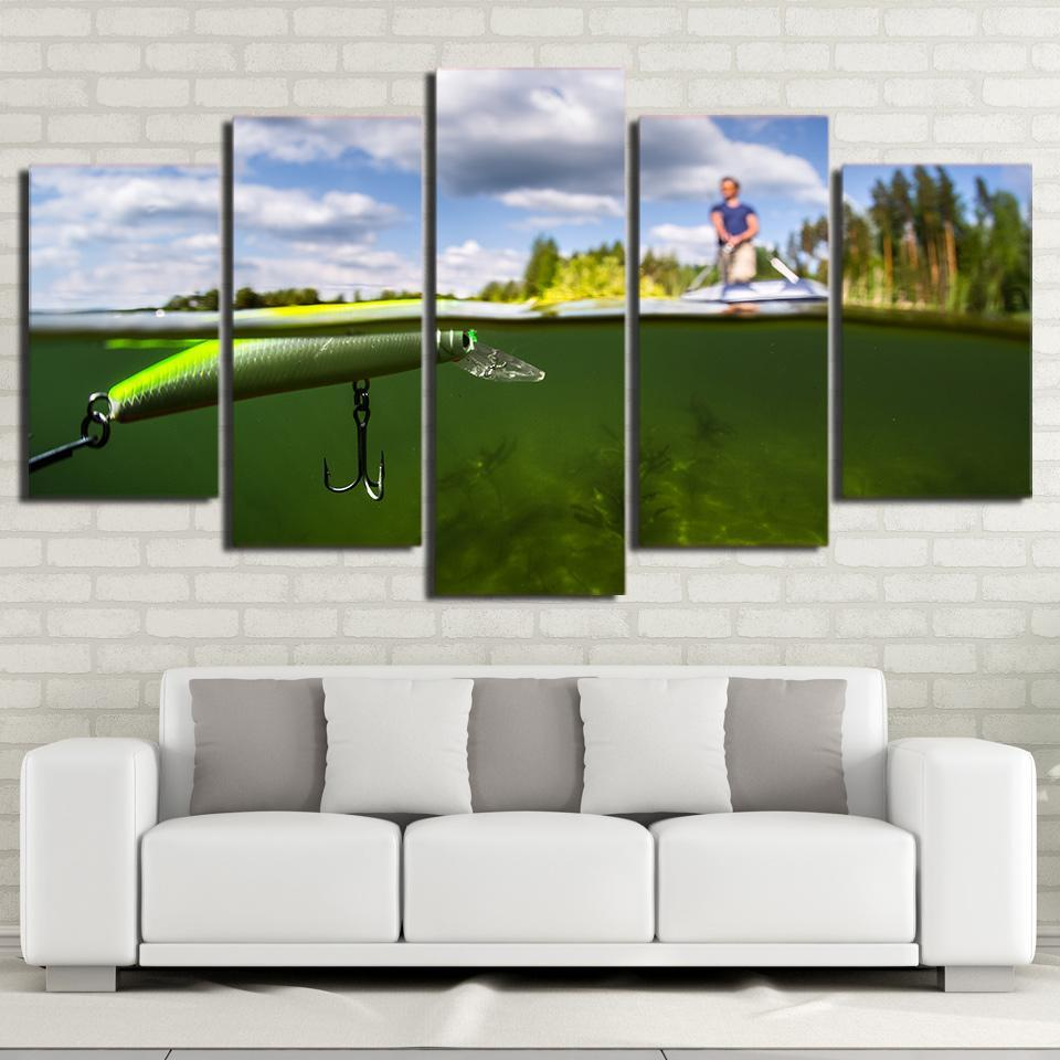 5 Piece Fishing In The Green Water Canvas Wall Art Sets - It Make Your Day