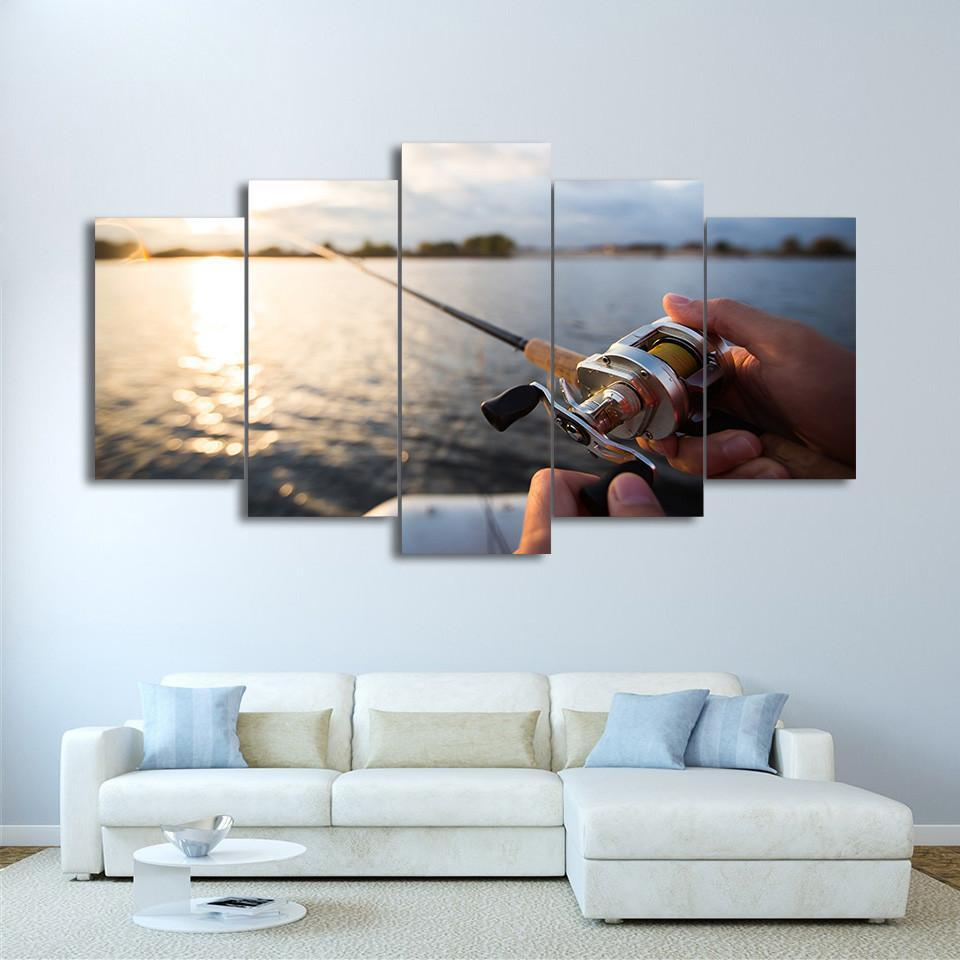 5 Piece Fishing In The Lake Sunset Canvas Wall Art Sets - It Make Your Day