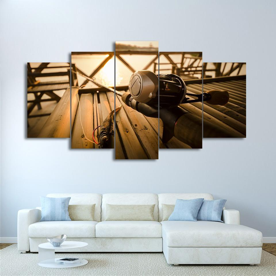 5 Piece Fishing In The Sunset Canvas Wall Art Sets - It Make Your Day