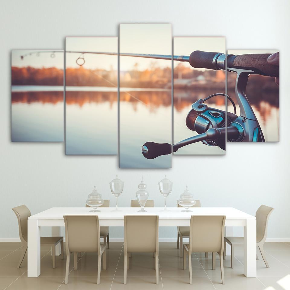 5 Piece Fishing Rod Canvas Wall Art Sets - It Make Your Day