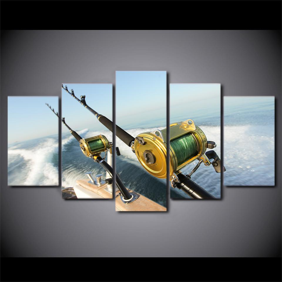 5 Piece Fishing Rod Waves Canvas Wall Art Sets - It Make Your Day