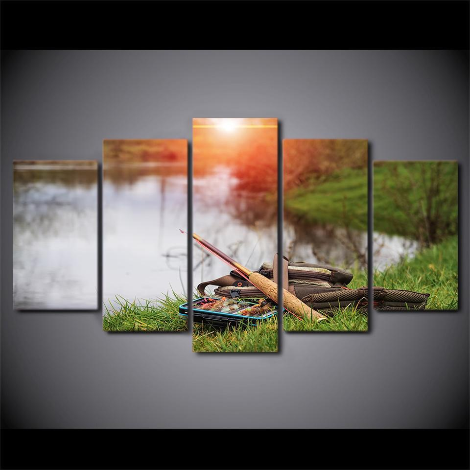5 Piece Fishing Tools In The Lake Canvas Wall Art Sets - It Make Your Day