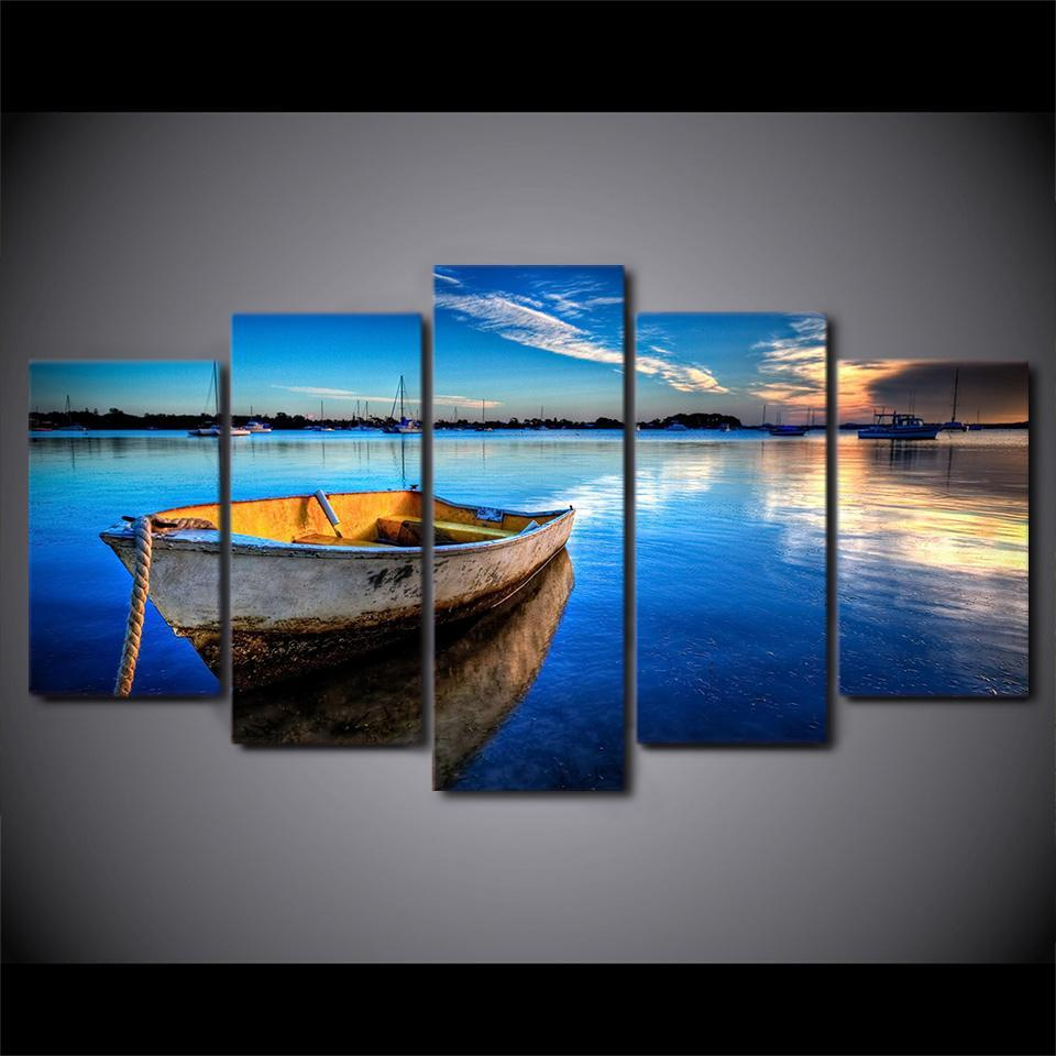 5 Piece Floating Boat In Blue Lake Canvas Wall Art Sets - It Make Your Day
