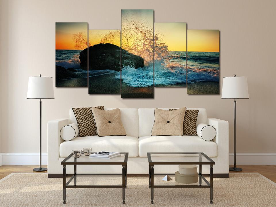 5 Piece Glowing Ocean With Rock Canvas - It Make Your Day