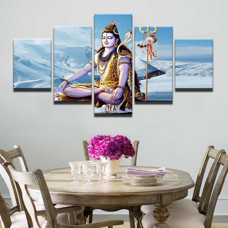 5 Piece God Of India Shiva Canvas Painting Wall Art - It Make Your Day
