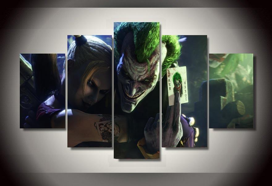5 Piece Joker And Harley Quinn Movie Canvas Wall Art Paintings - It Make Your Day