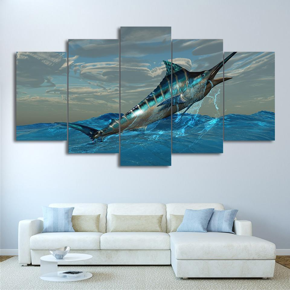 5 Piece Jumping Fish Canvas Wall Art Sets - It Make Your Day