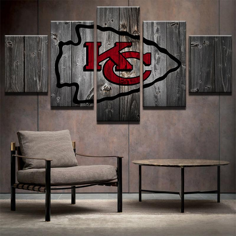 5 Piece Kansas City Chiefs Football Canvas Paintings - It Make Your Day