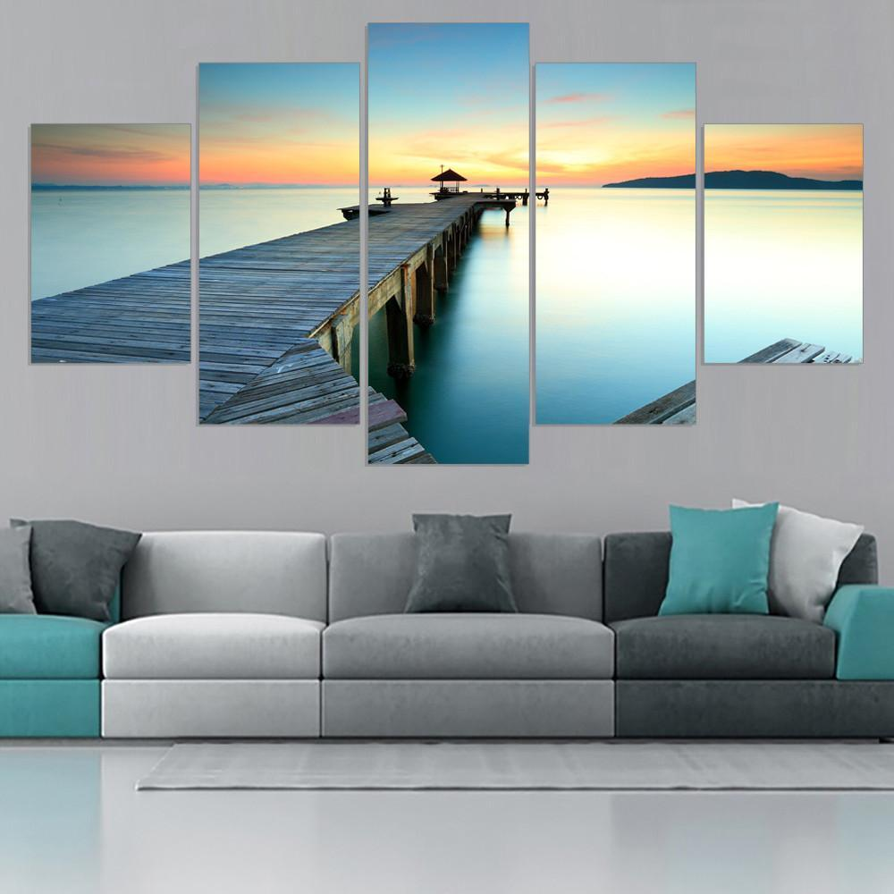 5 Piece Lake Bridge Sunset Canvas Painting Wall Art - It Make Your Day