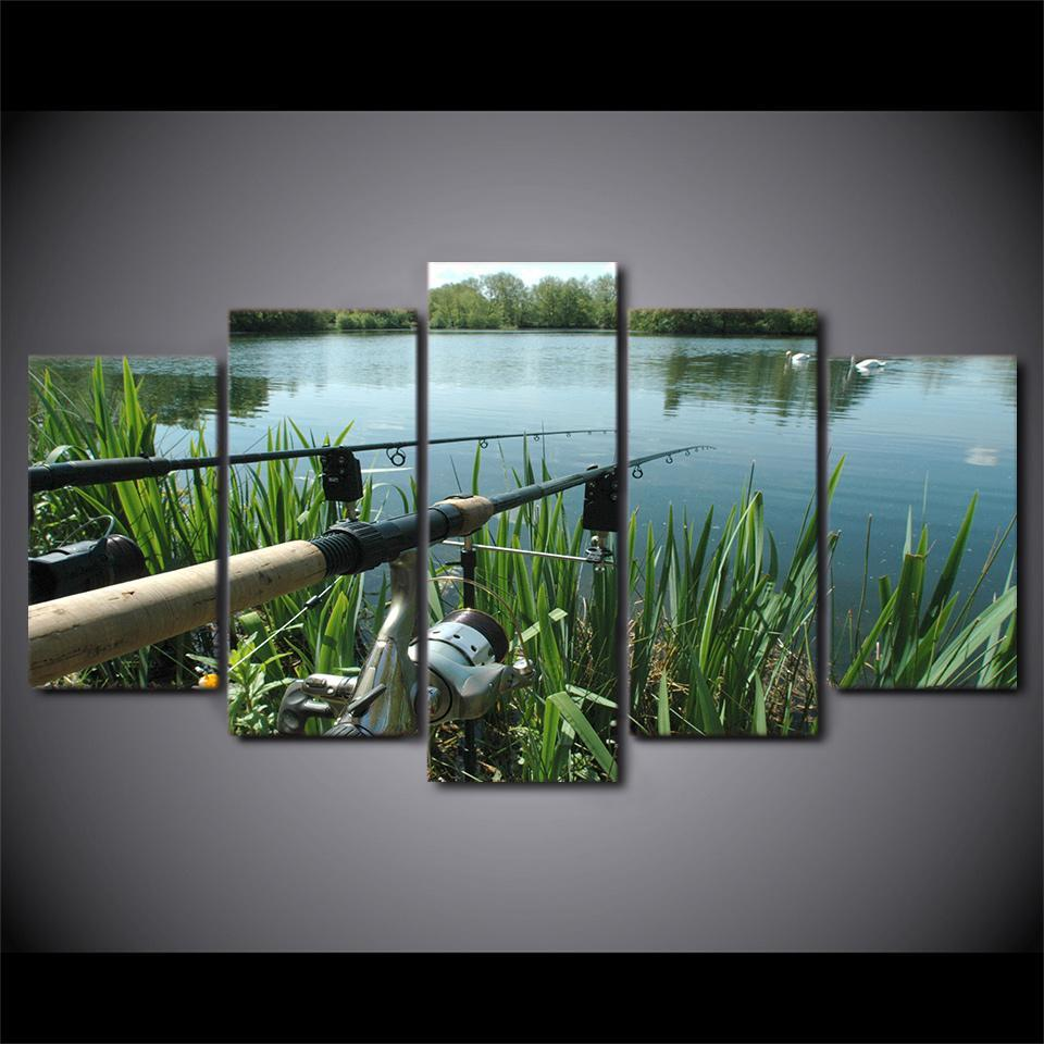 5 Piece Lake Fishing Canvas Wall Art Sets - It Make Your Day