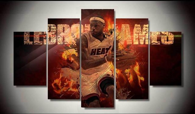 "5 Piece Lebron James ""I Got The Heat"" Canvas Painting Wall Art - It Make Your Day"