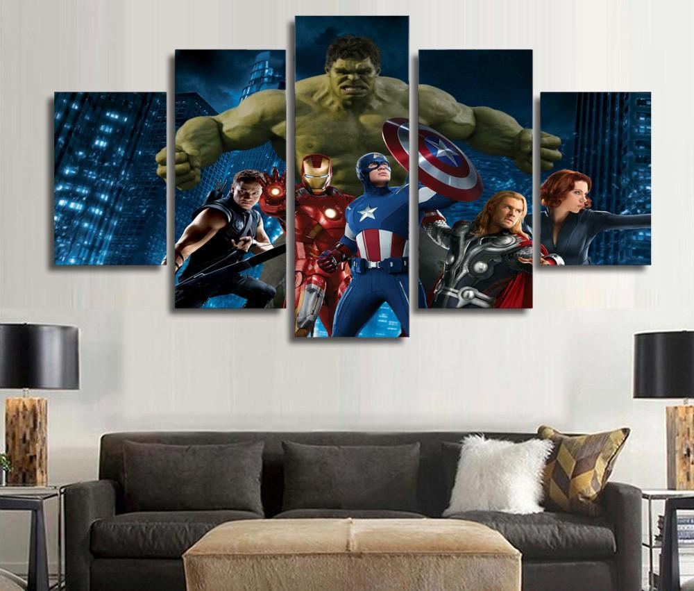 5 Piece Marvelu0027s The Avengers Movie Print Canvas Wall Art Paintings   It  Make Your Day