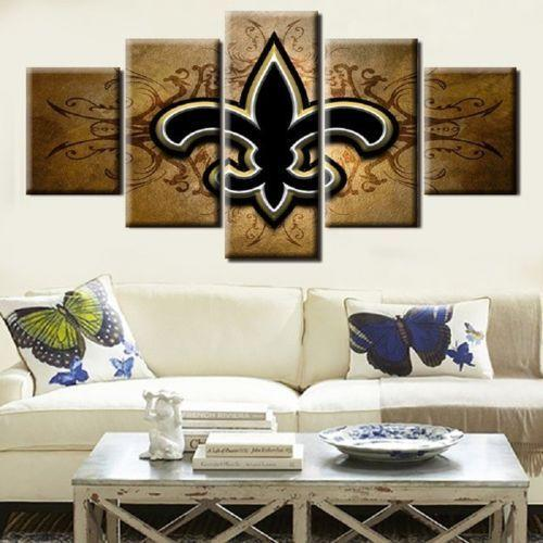 5 Piece NFL New Orleans Saints Logo HD Printed Canvas - It Make Your Day