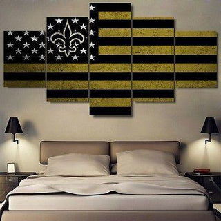 5 Piece New Orleans Saints Football American Flag Canvas - It Make Your Day