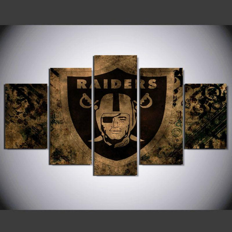 5 Piece Oakland Raiders Football Logo Printed Footer Canvas - It Make Your Day