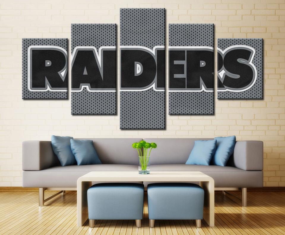 5 Piece Oakland Raiders Football NFL Printed Footer Canvas - It Make Your Day