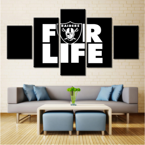 5 Piece Oakland Raiders Head Portrait FR Life Canvas - It Make Your Day