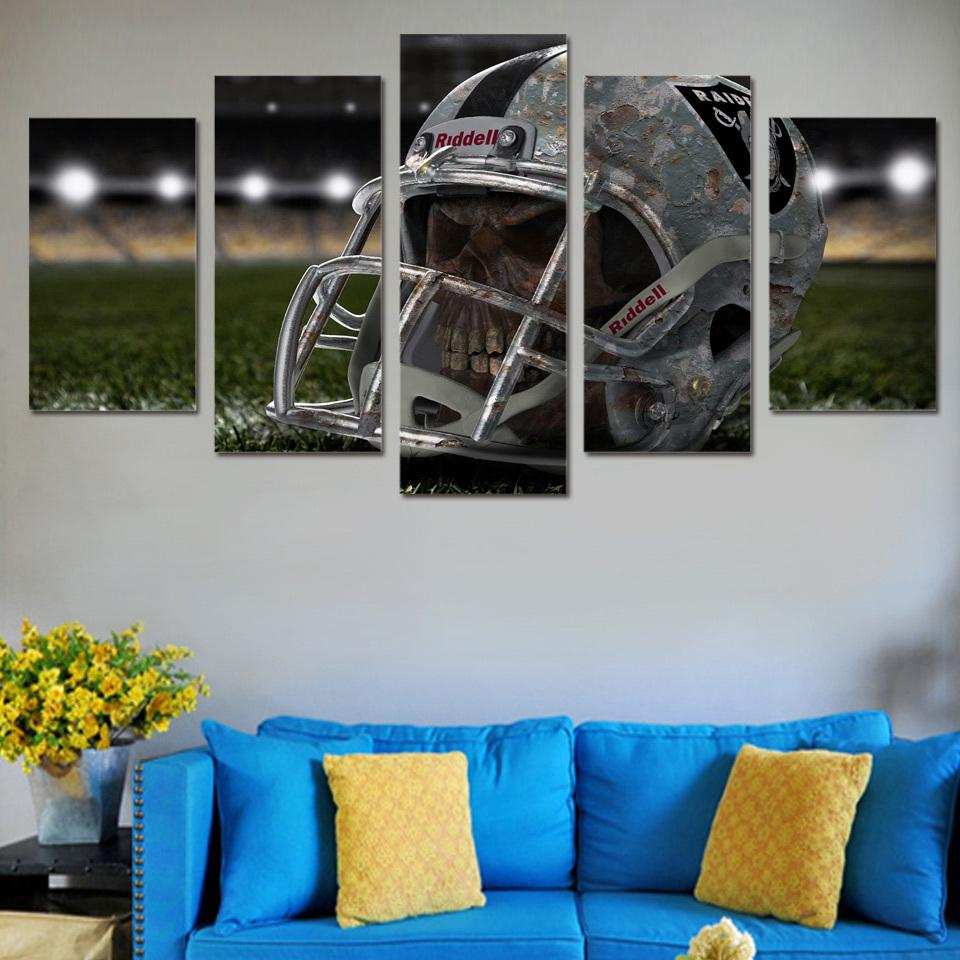 5 Piece Oakland Raiders Skull Helmet HD Printed Canvas - It Make Your Day