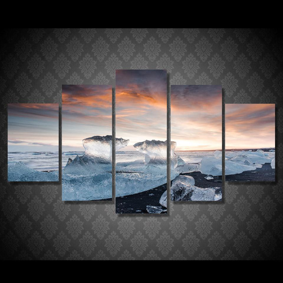 5 Piece Ocean Beach In Ice Canvas Paintings - It Make Your Day