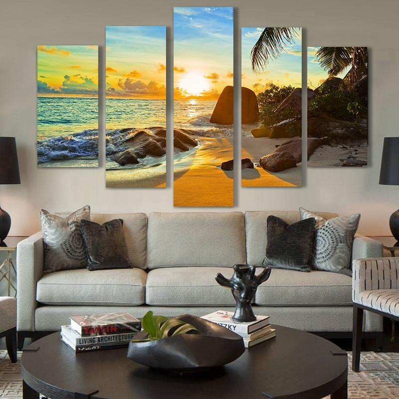 5 Piece Ocean Beach Sunset Canvas Painting Wall Art - It Make Your Day