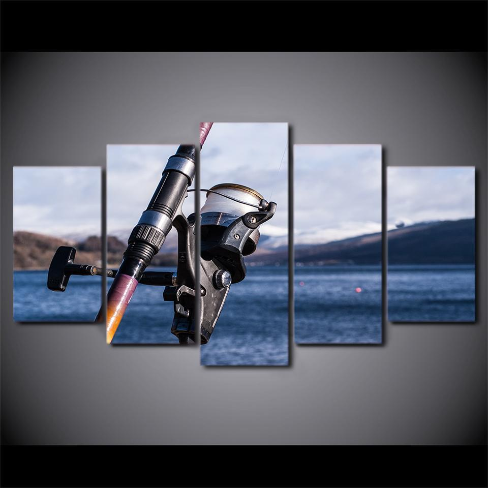 5 Piece Ocean Fishing Rod Canvas Wall Art Paintings - It Make Your Day