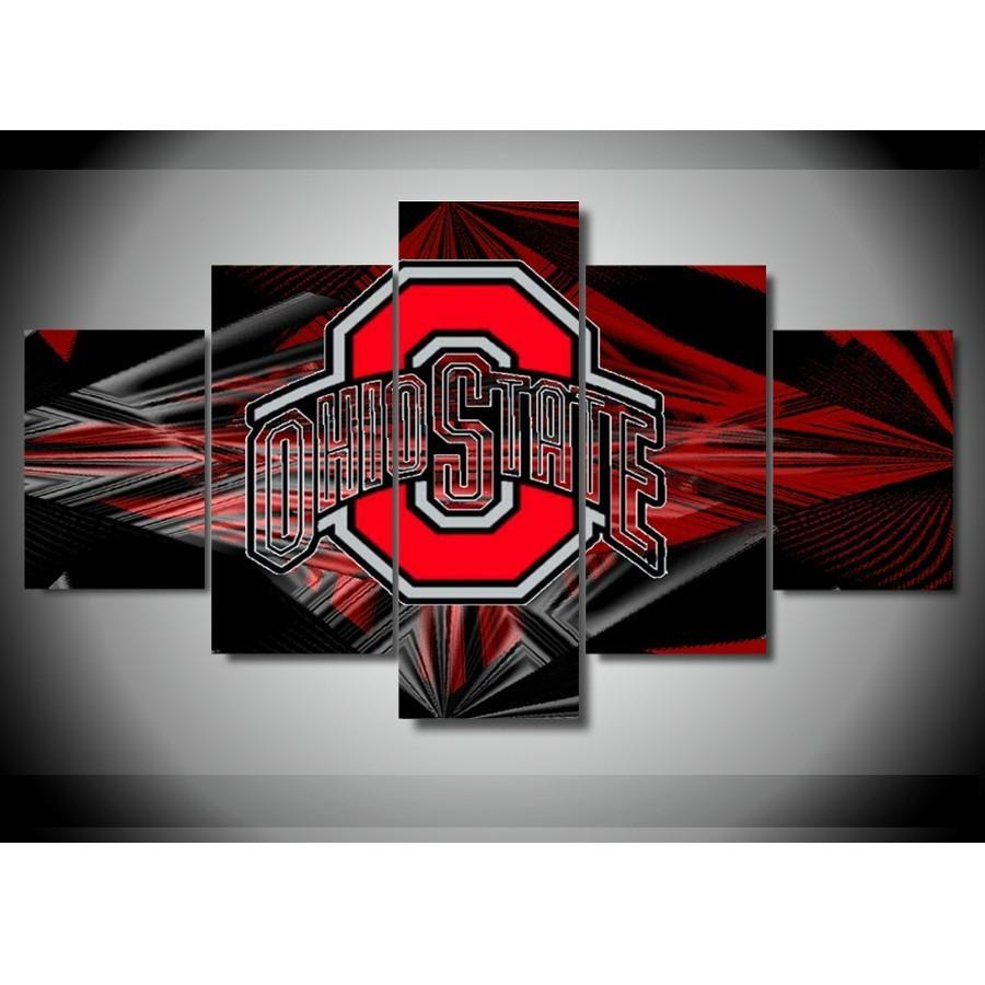 5 Piece Ohio State Buckeyes Basketball Canvas Paintings - It Make Your Day