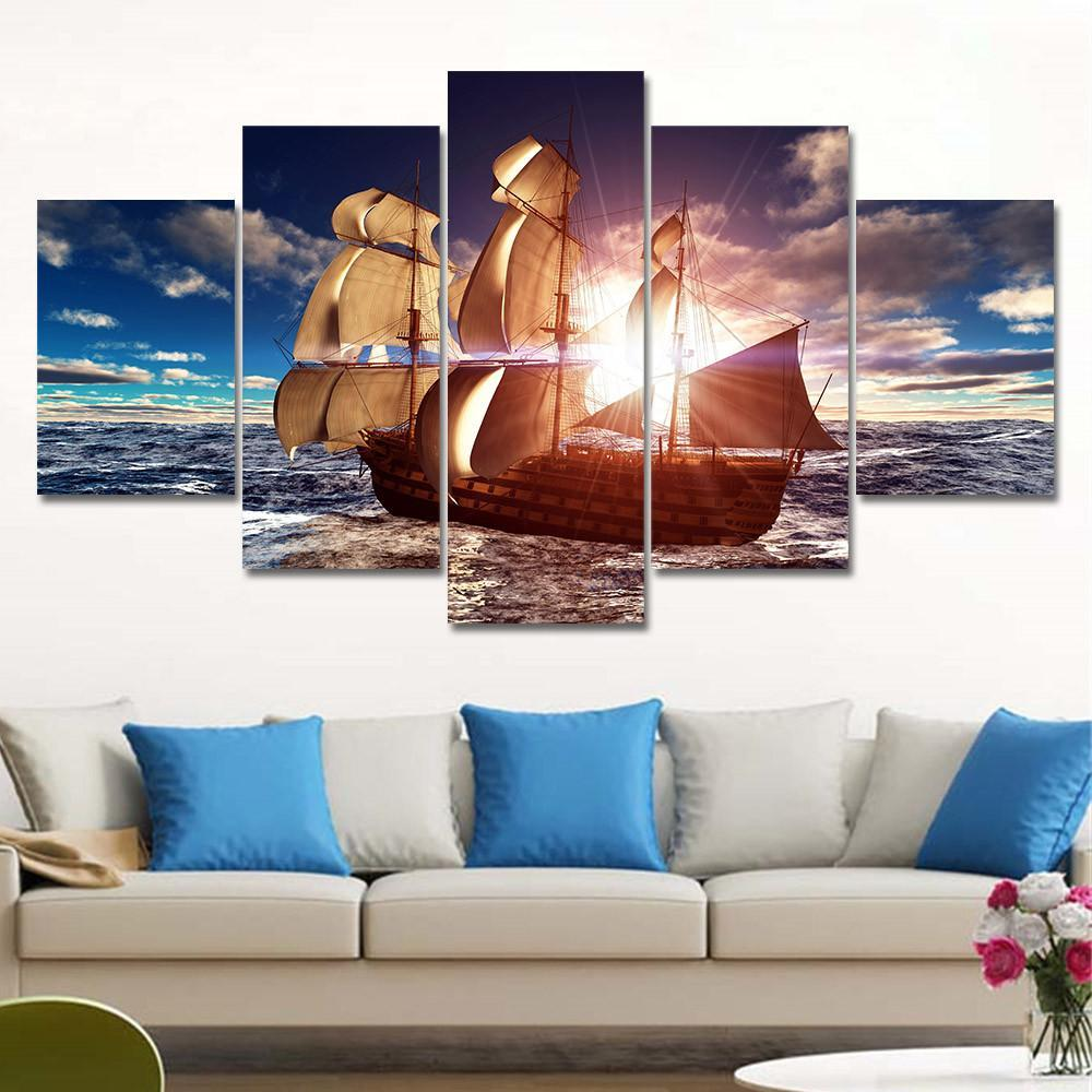 5 Piece Sea Boat Sunset Canvas Painting Wall Art - It Make Your Day