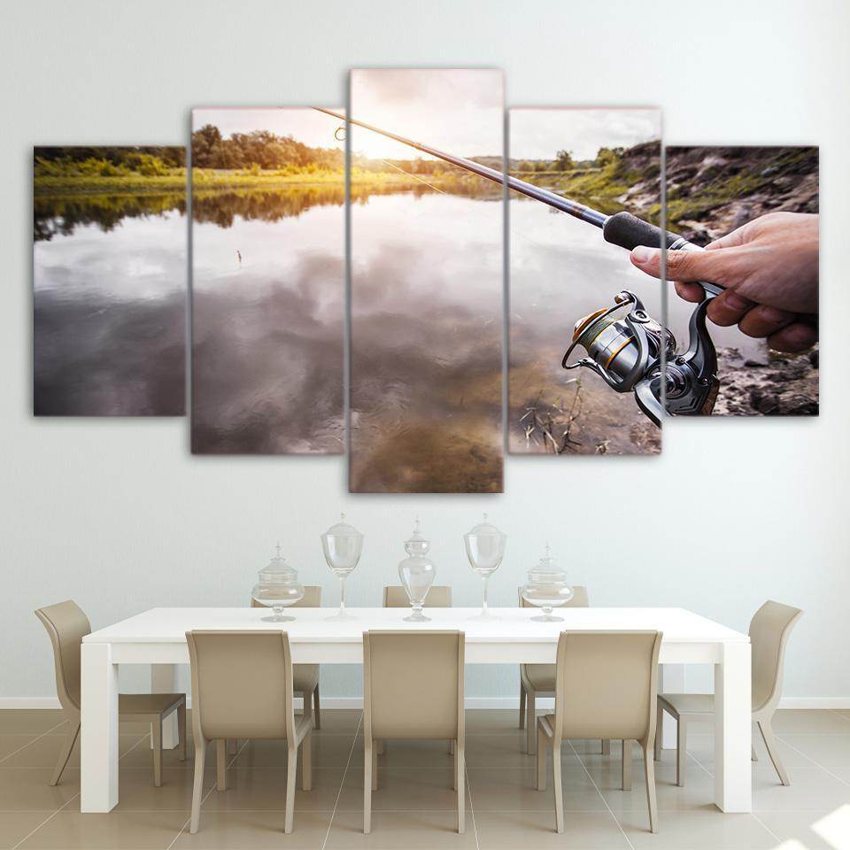 5 Piece Silver Fishing Rod Canvas Wall Art Sets - It Make Your Day