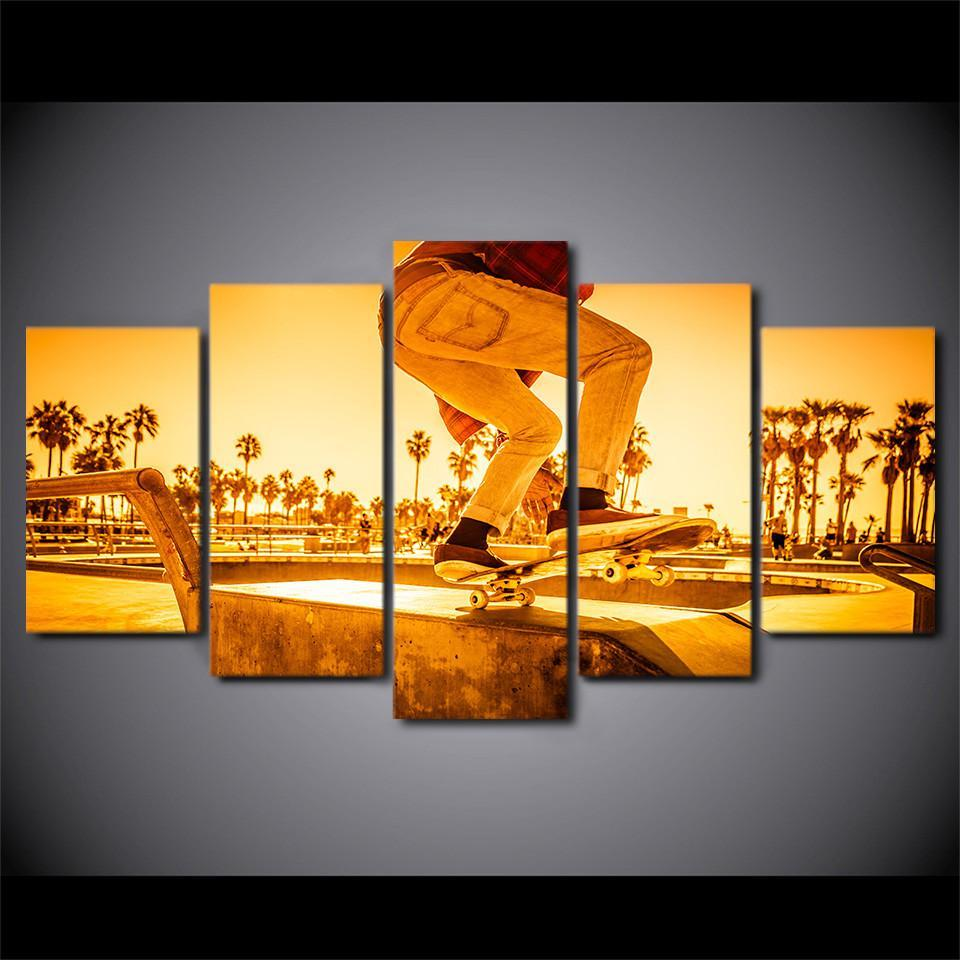 5 Piece Skateboard Sunset Street Canvas Wall Art Paintings For Sale ...