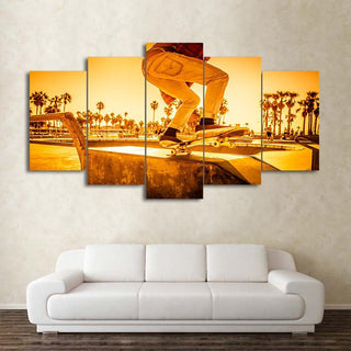 5 Piece Skateboard Sunset Street Canvas Wall Art Paintings - It Make Your Day