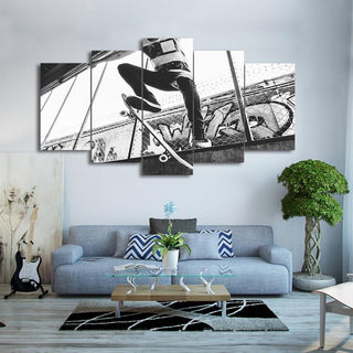5 Piece Skateboarding Black And White Canvas Wall Art Paintings - It Make Your Day