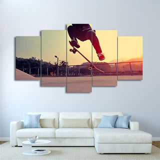 5 Piece Skateboarding In The Sunset Canvas Wall Art Paintings - It Make Your Day