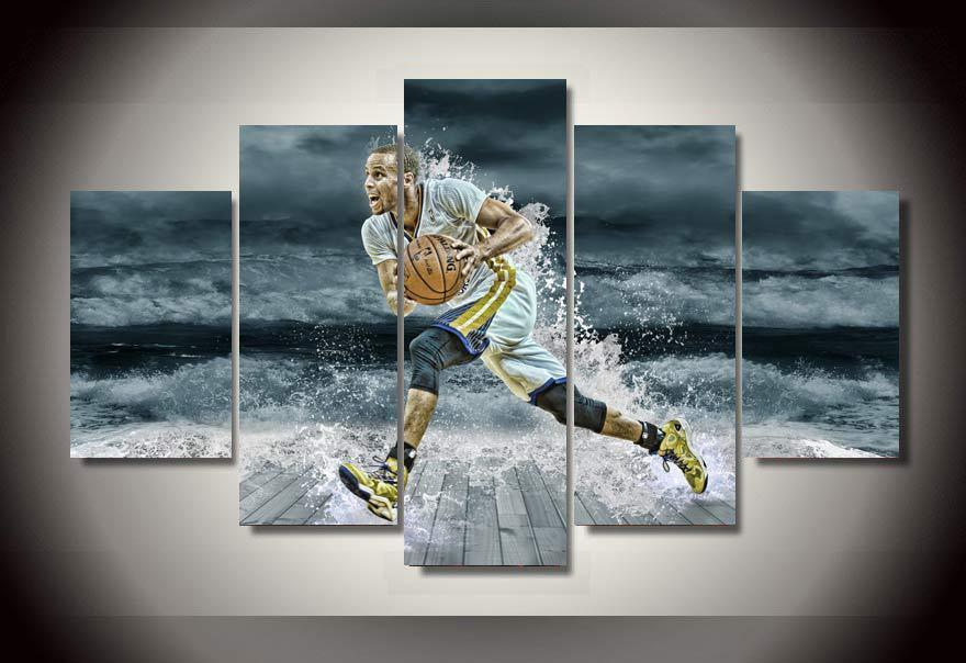 5 Piece Stephen Curry Canvas Painting Wall Art - It Make Your Day