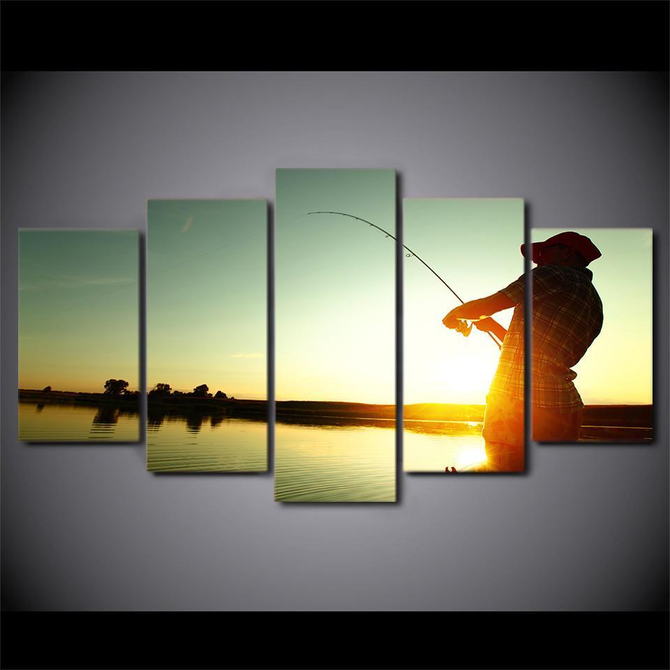 5 Piece Sunset Fishing Canvas Wall Art Sets - It Make Your Day