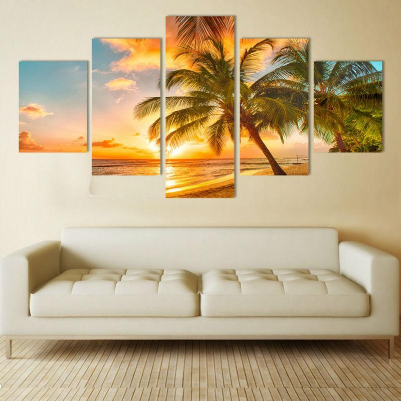 5 Piece Sunset Sea Beach Canvas Painting Wall Art - It Make Your Day