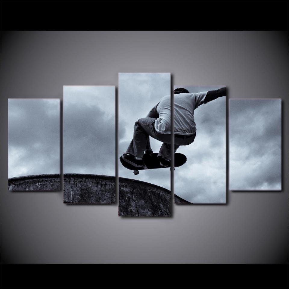 5 Piece Vintage Skateboard Black And White Canvas Wall Art Paintings - It Make Your Day