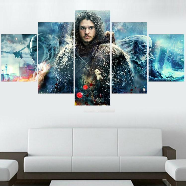 5 Piece Game Of Thrones Jon Snow Daenerys Canvas Painting Wall Art - It Make Your Day