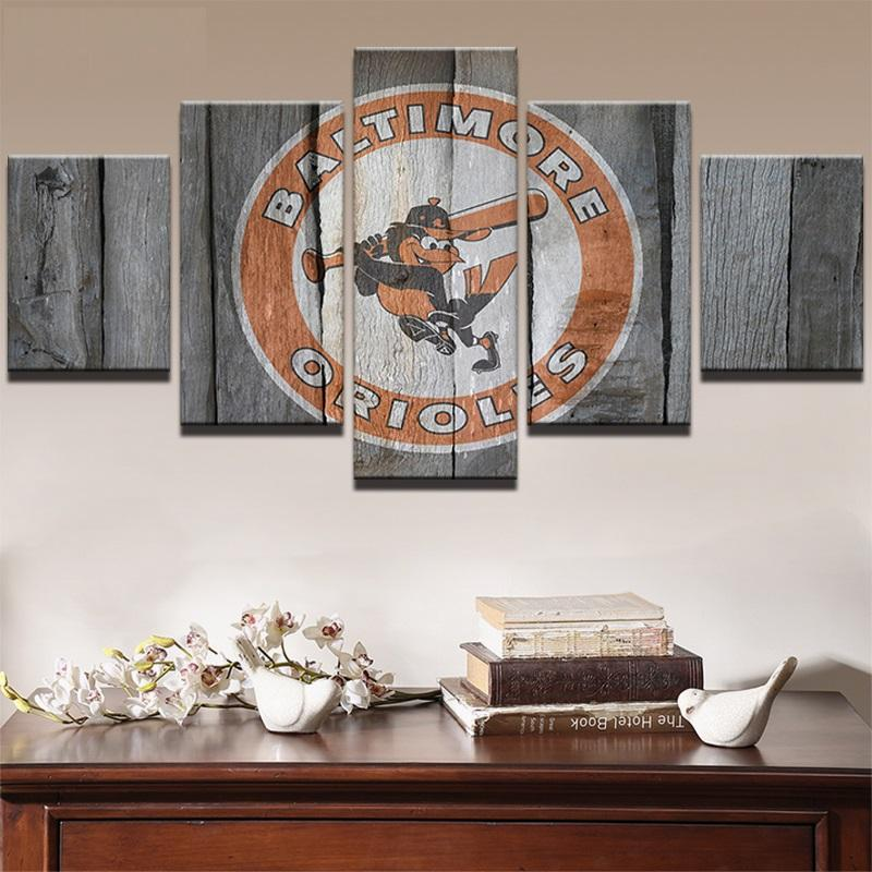 5 Piece Baltimore Orioles NCAA Wall Art Canvas Paintings Sets - It Make Your Day